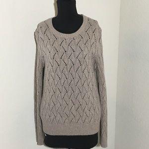 LOFT Wool Rabbit Blend Open Knit Sweater Cocoa XL